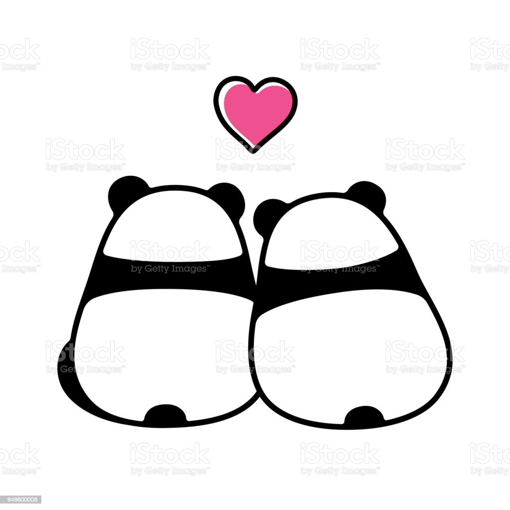 Couple Mignon Panda Amoureux Cliparts Vectoriels Et Plus D Images