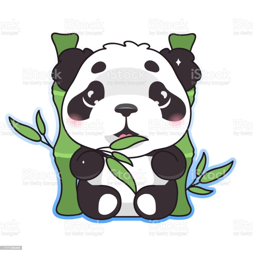 Panda Mignon Mangeant Le Caractère De Vecteur De Dessin
