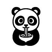 Cute panda eating noodles