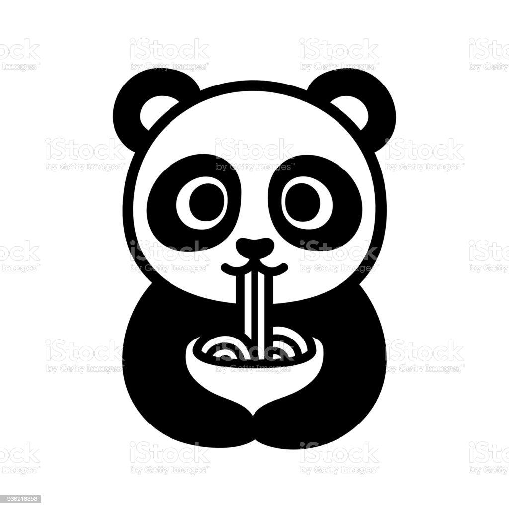 麺類を食べるかわいいパンダ ベクターアートイラスト