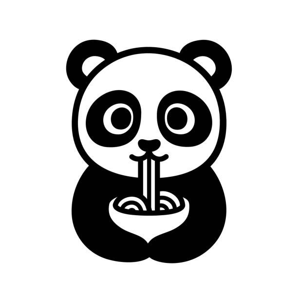 cute panda eating noodles - japanese food stock illustrations