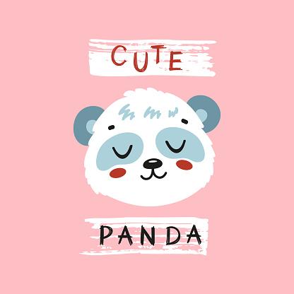 Cute Panda Face. Funny Panda Bear Head for Tee Print Design for Kids. Chinese or Bamboo Bear. Vector Cartoon Little Baby Animal. Scandinavian Card, Print or Poster Design