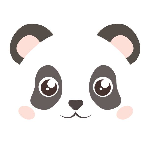 Cute Panda Face Isolated On White Background Flat Style Vector Art Illustration