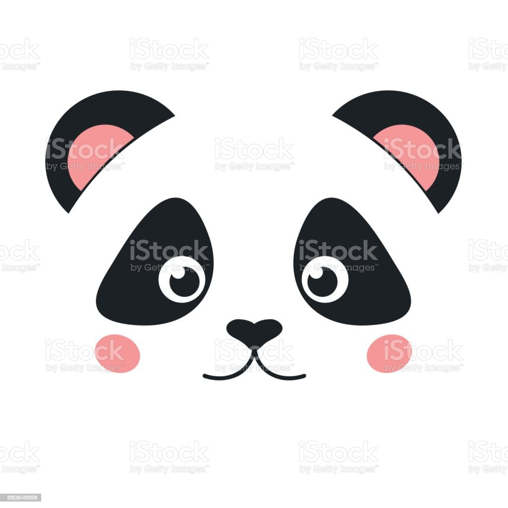 Cute Panda Face Isolated On White Background Flat Style Royalty Free