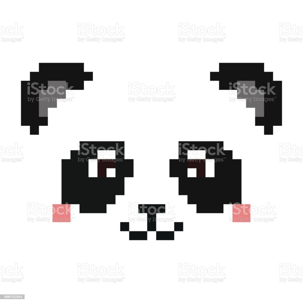 Cute Panda Face Isolated On White Background Pixel Art Stock
