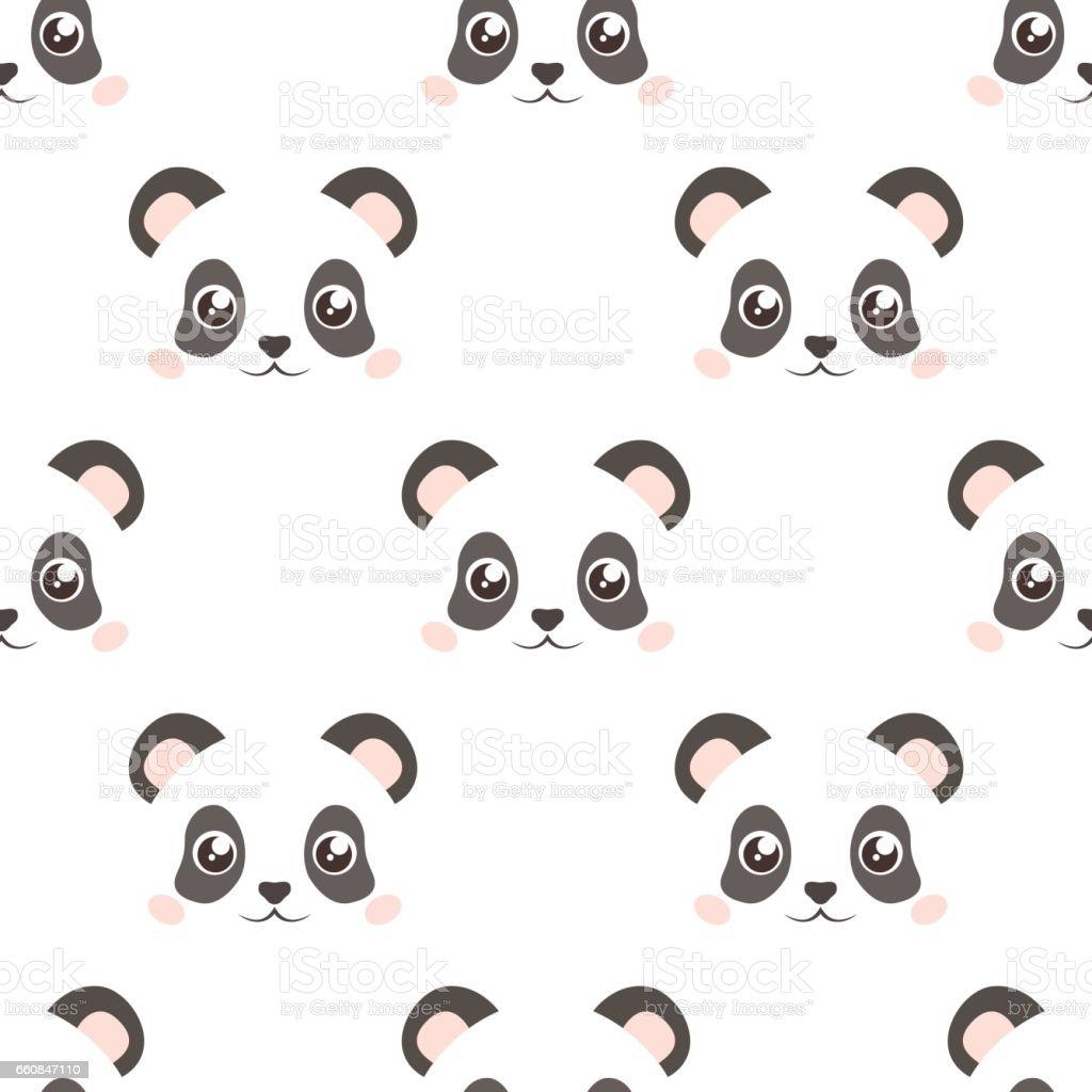 Cute Panda Face Seamless Wallpaper Cartoon Vector Flat Style Stock