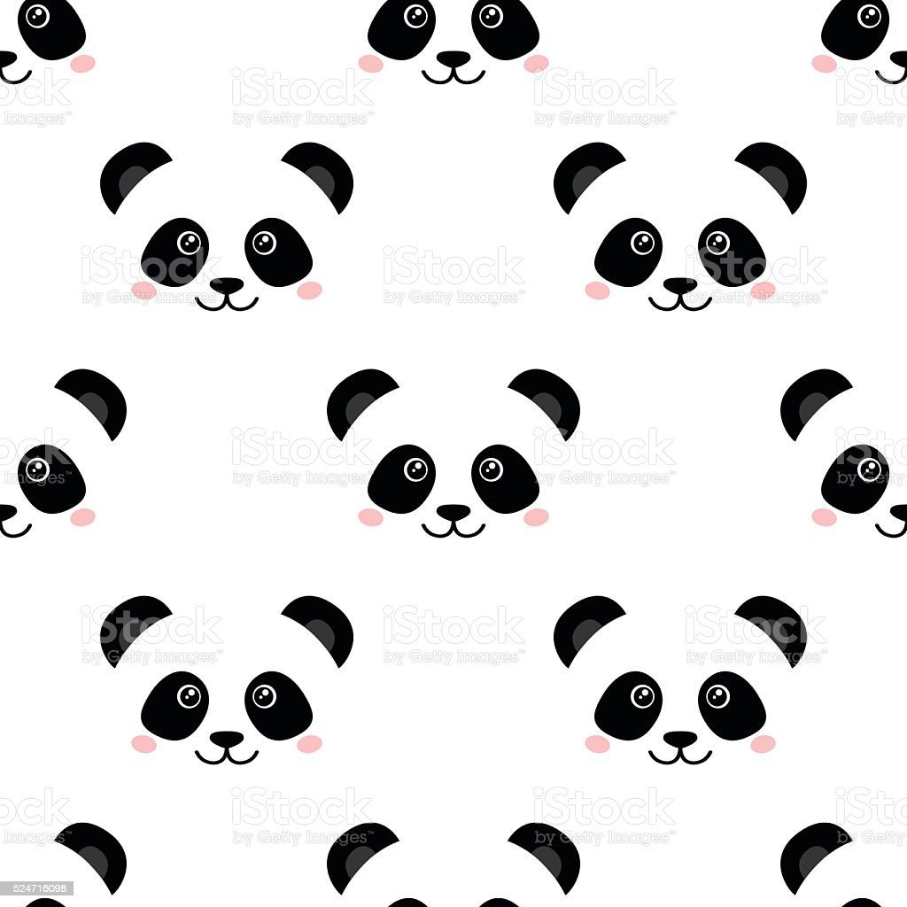 Cute Panda Face Seamless Wallpaper Stock Illustration