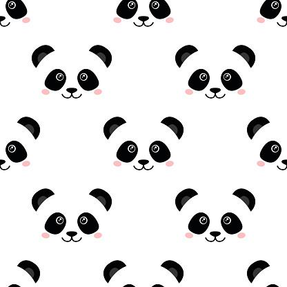 cute panda face seamless wallpaper vector