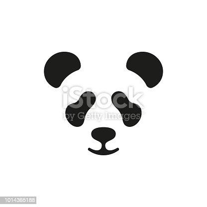 Cute panda face. Vector icon or emblem design