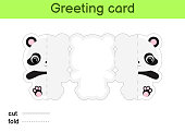 Cute panda fold-a-long greeting card template. Great for birthdays, baby showers, themed parties. Printable color scheme. Print, cut out, fold, glue. Colorful vector stock illustration.