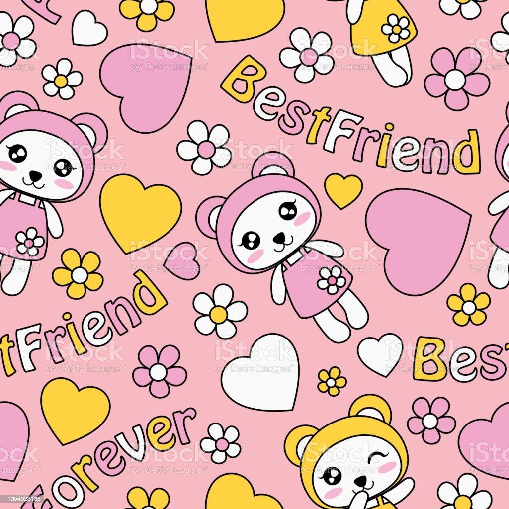 ilustración de panda lindo chicas amor y flores sobre fondo rosa