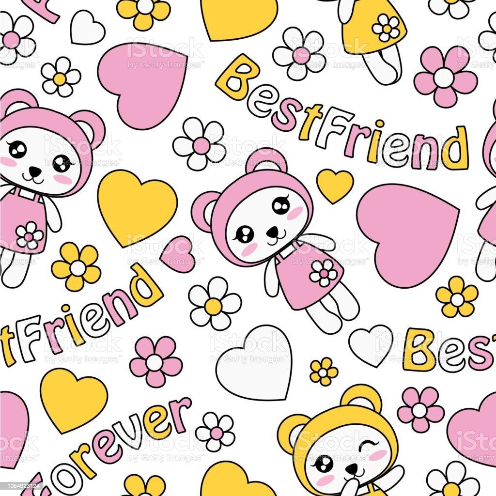 ilustración de lindo panda de chicas amor y flores vector dibujos
