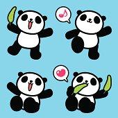 Vector illustration - Cute Panda, Greeting, Walking, Sitting, Eating.