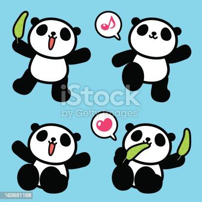 istock Cute Panda, Greeting, Walking, Sitting, Eating 165681168