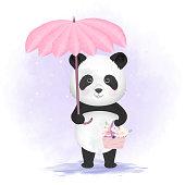 Cute panda holding umbrella and flower basket hand drawn animal illustration watercolor background