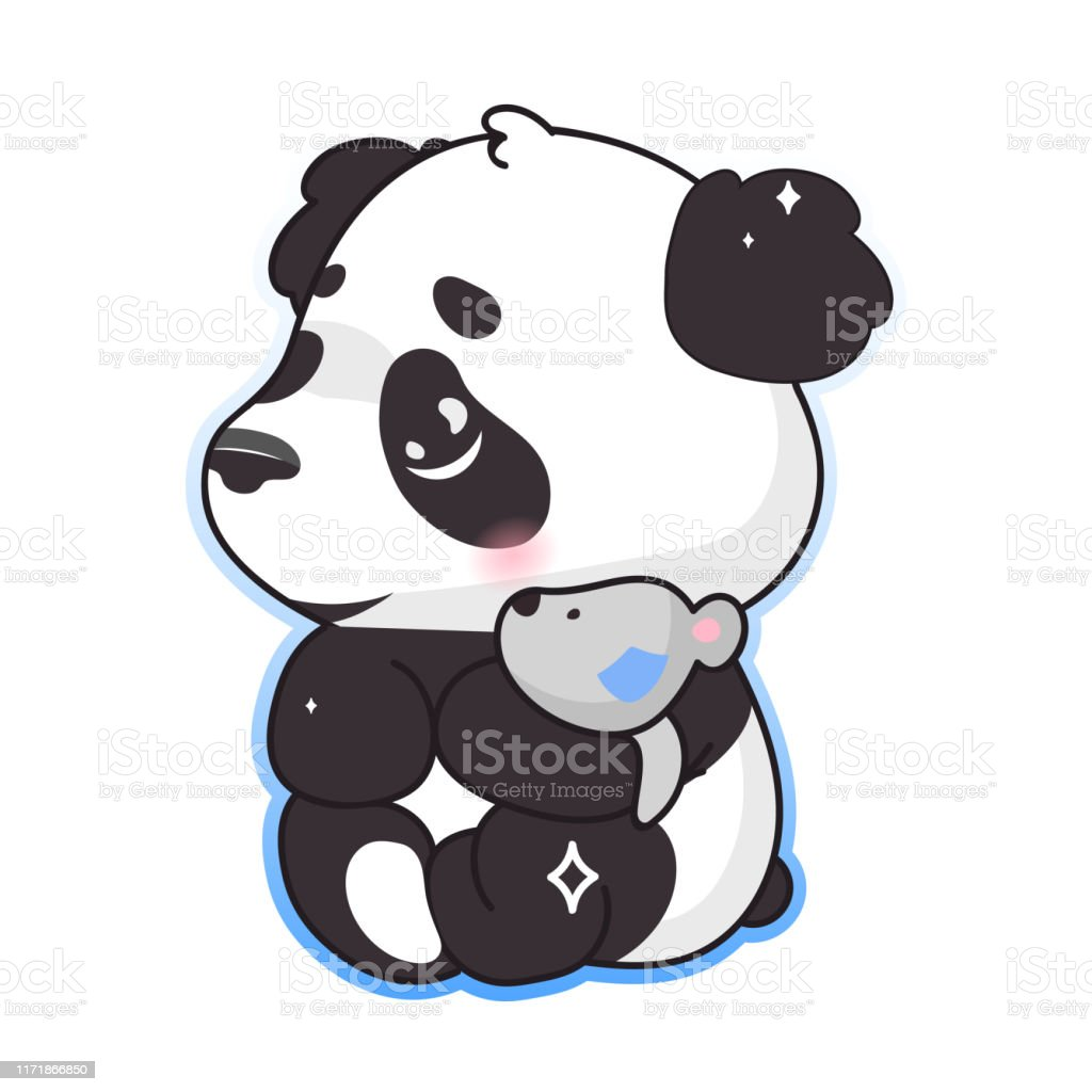 Cute Panda Hugging Toy Kawaii Cartoon Vector Character Adorable Happy And Funny Animal Playing Isolated Sticker Patch Kids Book Illustration Anime Baby Panda Bear Emoji On White Background Stock Illustration Download