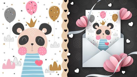 Cute panda idea for greeting card