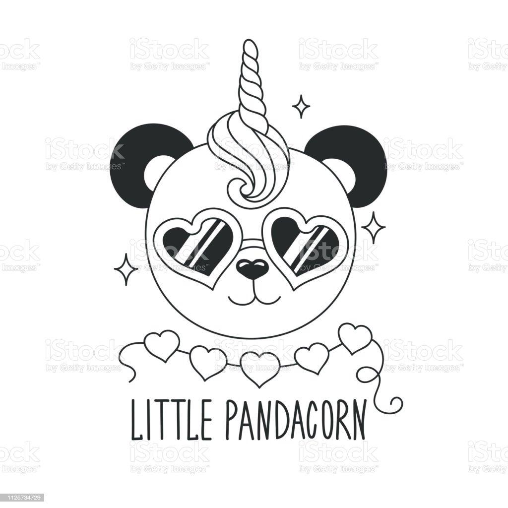 Illustration De Panda Mignon Peu De Texte Pandacorn Design Pour Enfants Illustration De Mode De Dessin Dans Un Style Moderne Pour Les Vetements Illustration De Contour Noir Et Blanc Licorne Panda Vecteurs
