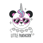 Cute panda illustration. Little Pandacorn text. Design for kids. Fashion illustration drawing in modern style for clothes. Girlish print. Glitter, unicorn, panda.