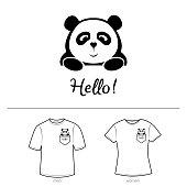 Cute panda illustration. Panda in a pocket.