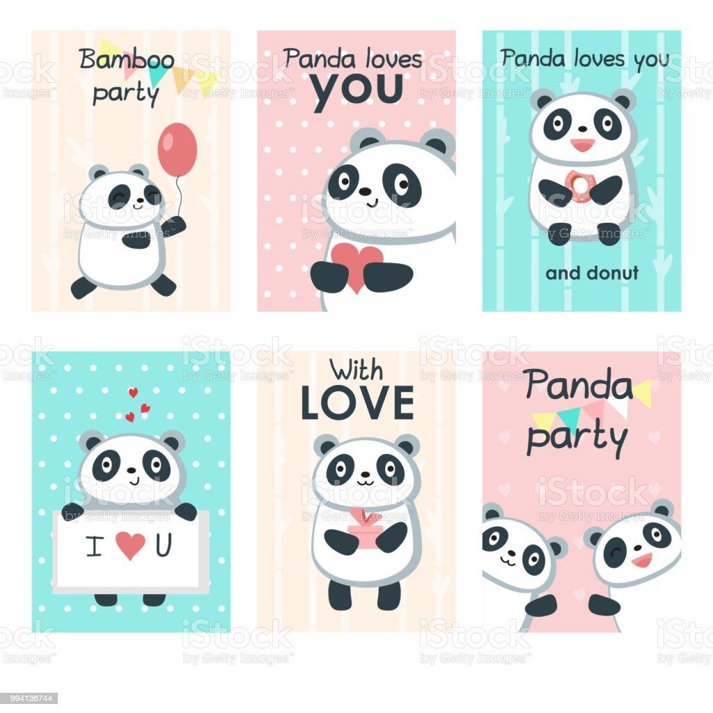 かわいいパンダの招待カード ベクトル テンプレート セット おもちゃの