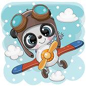 Cute Panda is flying on a plane