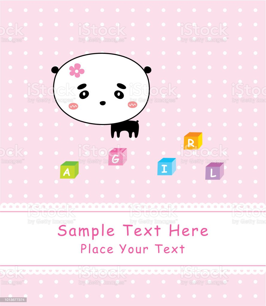 cute panda it is a girl announcement card stock vector art more