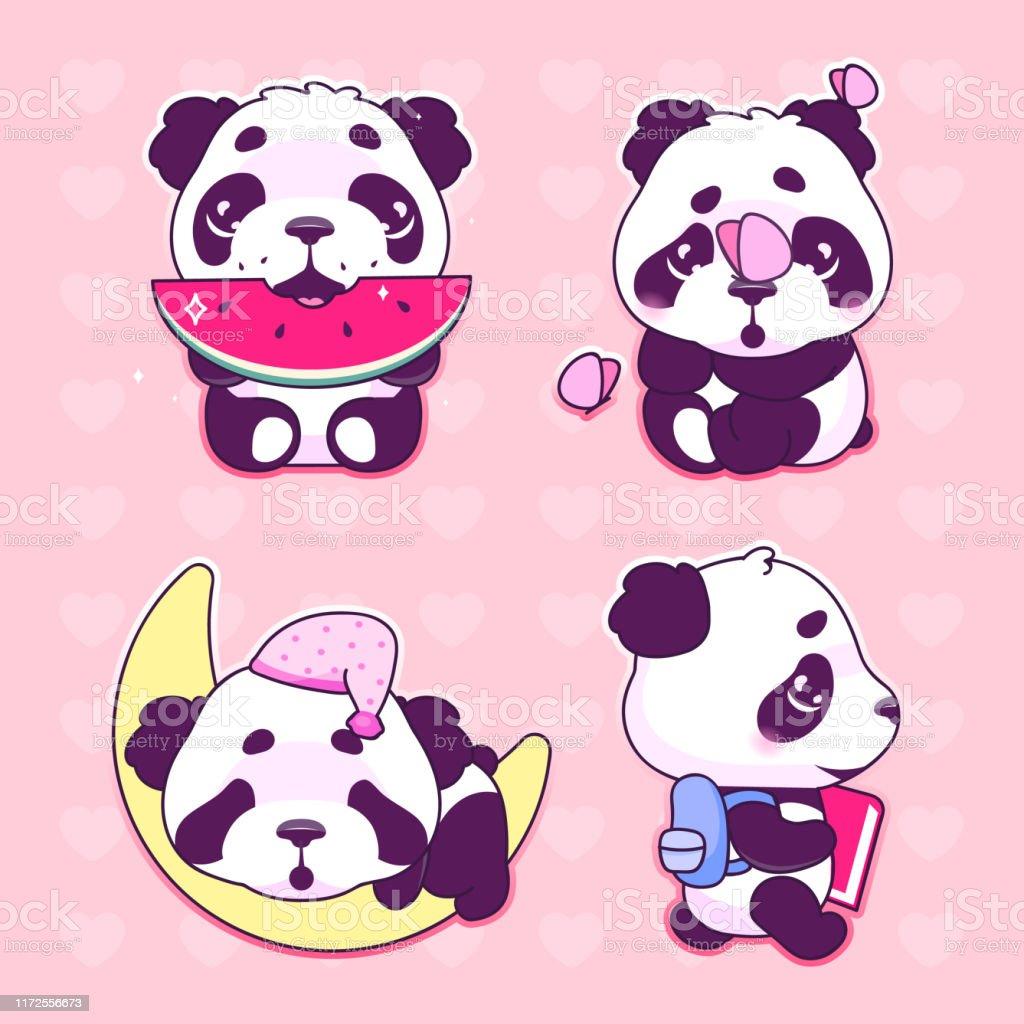 Ensemble Mignon De Caracteres De Vecteur De Dessin Anime De Panda Kawaii Animal Adorable Et Drole Mangeant La Pasteque Dormant Sur Lune Autocollant Disolement Paquet De Corrections Emoji Dours De Panda De