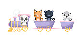 Cute panda, lynx, panther and lemur ride on train. Graphic element for childrens book, album, scrapbook, postcard or mobile game. Zoo theme. Flat vector illustration isolated on white background.
