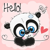 Cute Drawing Panda on a pink background