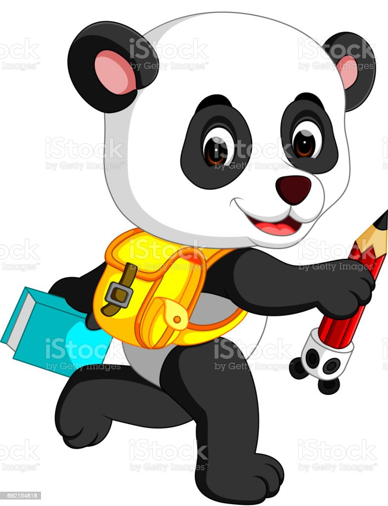 Cute panda on his way to school vector art illustration