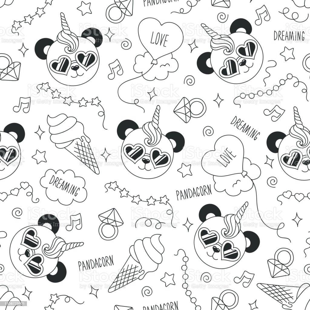 Motif De Panda Mignon Sur Un Fond Blanc Modèle Sans Soudure