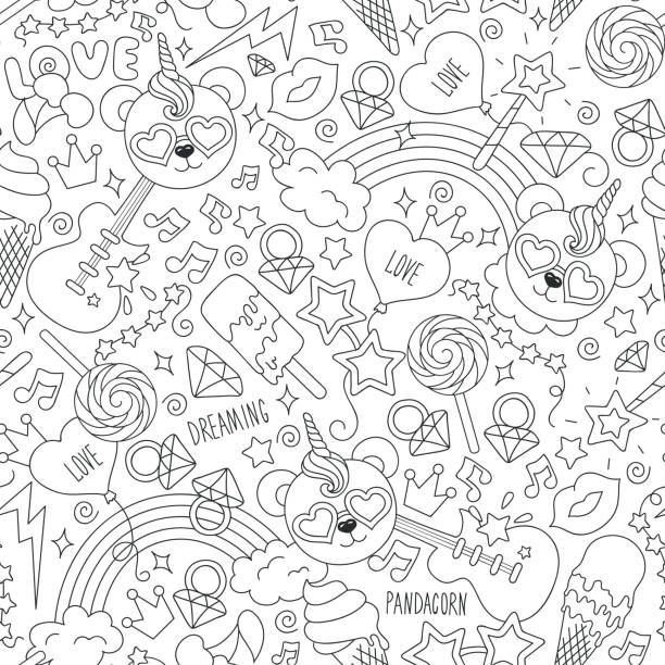 cute panda pattern on a white background. black and white outline seamless pattern. drawing for kids clothes, t-shirts, fabrics or packaging. panda, ice cream, note, star, ring, guitar e.t. - unicorn line drawings stock illustrations, clip art, cartoons, & icons