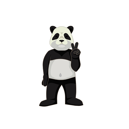 Cute panda showing peace on white isolated background, vector illustration for Animal or Children's goods topics that will be good for making characters or a part of design, stickers or prints.