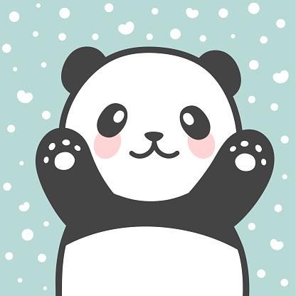 Cute Panda vector print, baby shower card