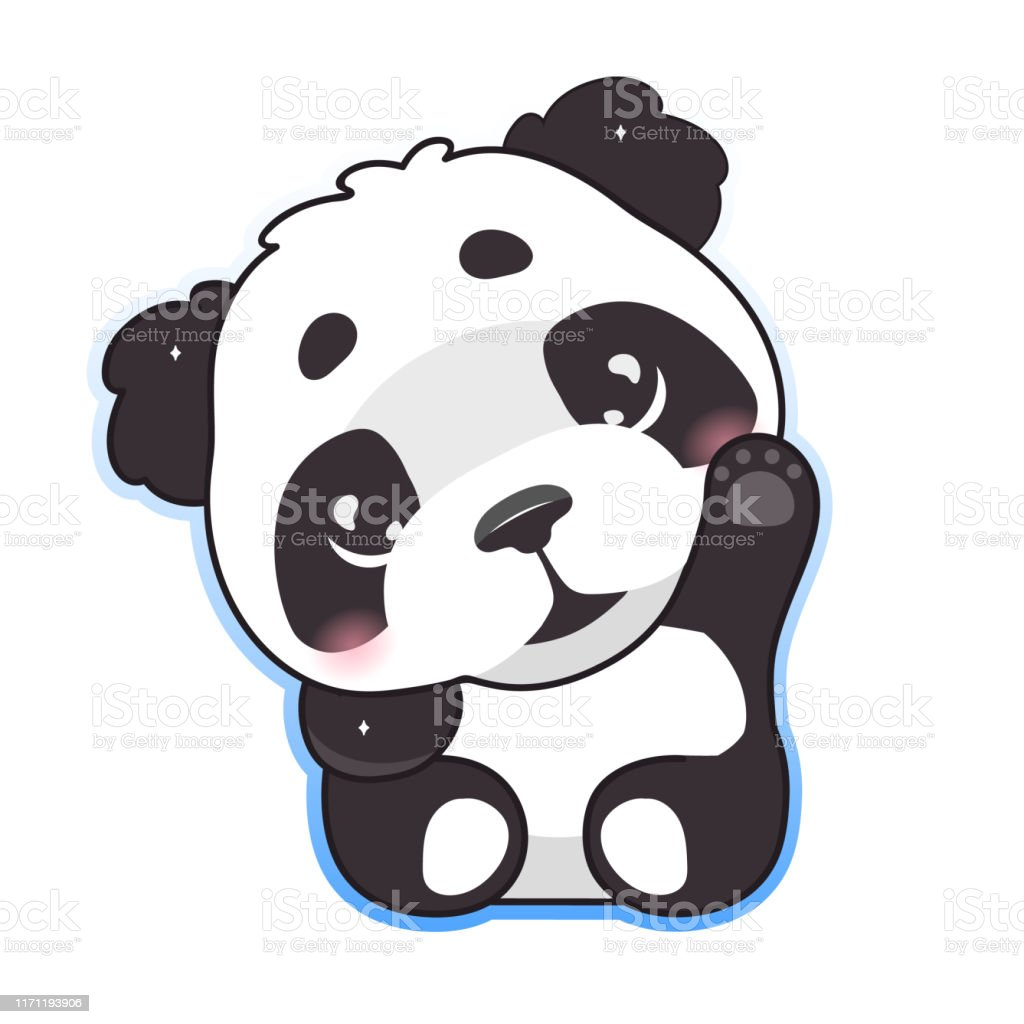 Cute Panda Waving Hand Kawaii Cartoon Vector Character Adorable Happy And Funny Animal With Hi Greeting Gesture Isolated Sticker Patch Anime Baby Panda Bear Emoji On White Background Stock Illustration Download