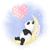 Cute panda with balloon on the crescent moon hand drawn cartoon watercolor illustration