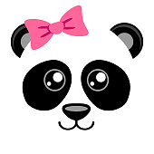 Cute panda with pink bow. Girlish print with chinese bear for t-shirt