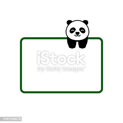Cute Panda With Text Box Vector Illustration Stock Vector Art More