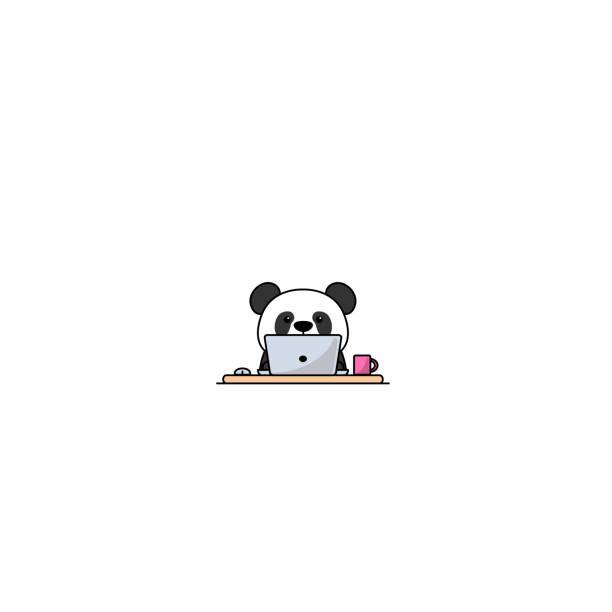 illustrations, cliparts, dessins animés et icônes de panda mignon travaillant sur un ordinateur portatif, illustration de vecteur - panda