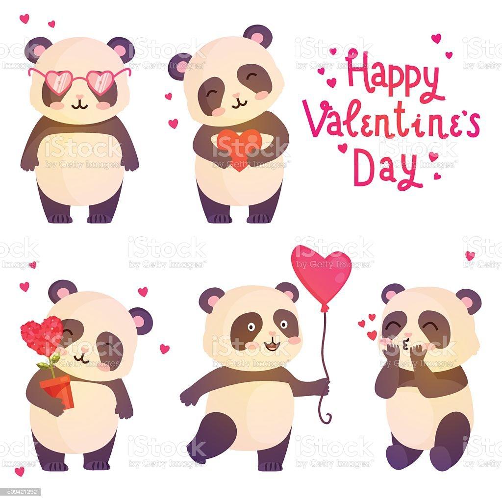 Niedlich Pandabären Abbildung Für Gestaltung Grußkarte Für Den Valentinstag.  Lizenzfreies Vektor Illustration