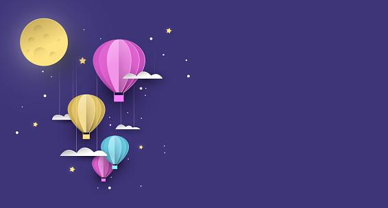 Cute papercut hot air balloon background at night
