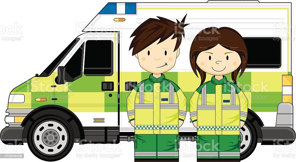 Cute Paramedics with Ambulance royalty-free stock vector art