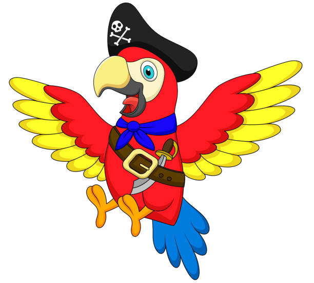 Best Flying Pirate Parrot Illustrations Royalty Free Vector