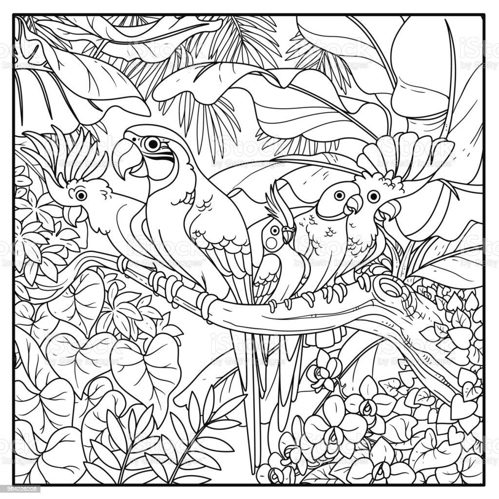 niedliche papageien verschiedener rassen sitzt auf ast im