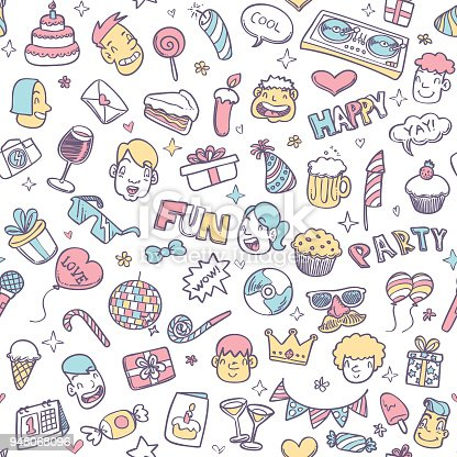 Cute party doodle seamless pattern on white color background.