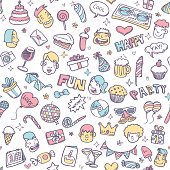 cute party doodle seamless pattern
