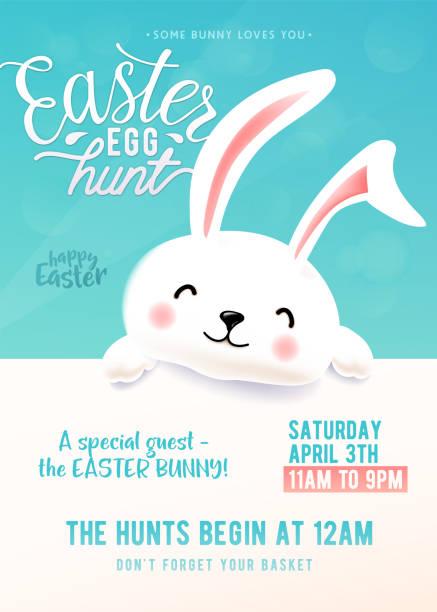 nette party plakat für easter egg hunt mit lustige osterhasen - hase stock-grafiken, -clipart, -cartoons und -symbole