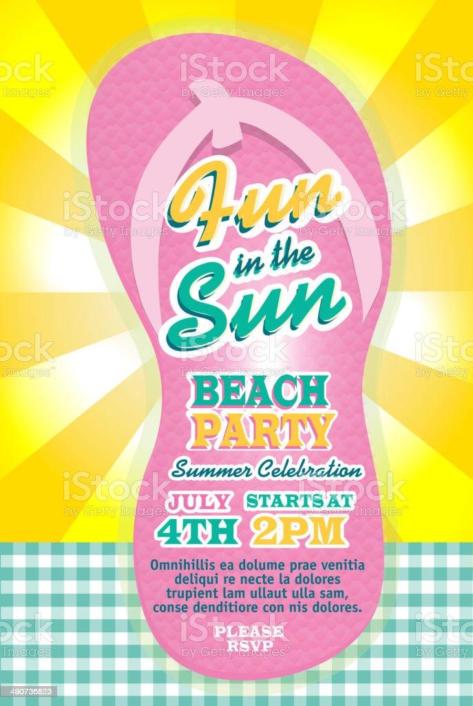 Hübsche Pastellfarben Beach Party Flip Flop Vorlage Der Einladung Design  Lizenzfreies Vektor Illustration
