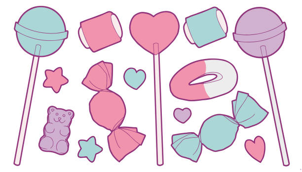 Cute pastel colored cartoon vector collection set with different sweets like candy, fruit gum, lollipops, hearts and stars Vector illustration set for children gum drop stock illustrations